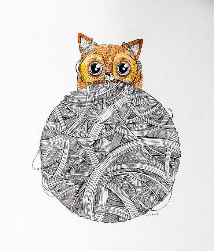 Акварельные кошки литовской художницы Nora