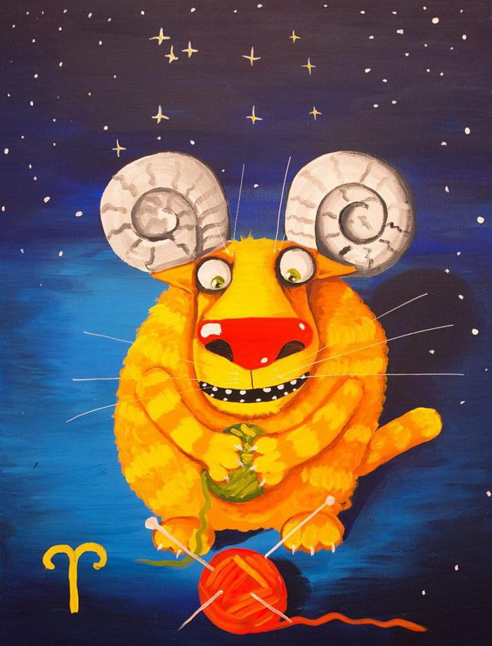 Знаки зодиака в иллюстрациях Васи Ложкина