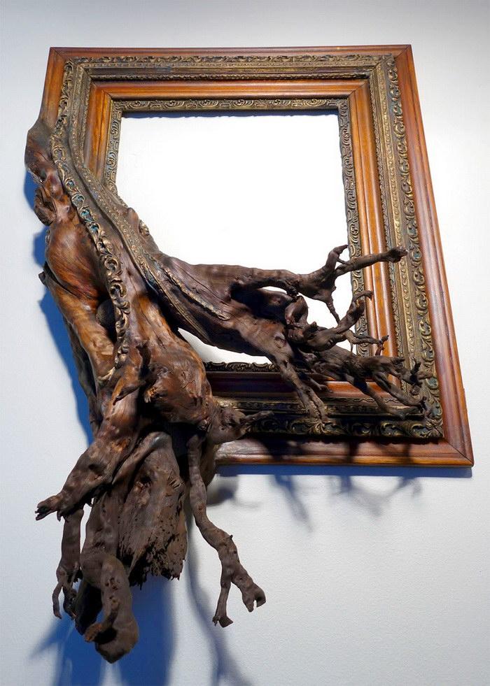Картинные рамы с ветвями в работах Darryl Cox