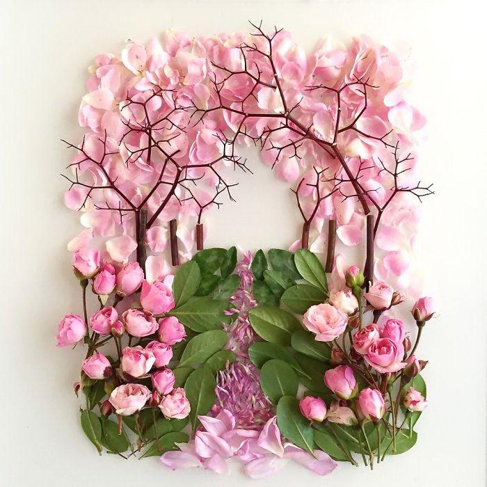 Коллажи из цветов и листьев Bridget Collins