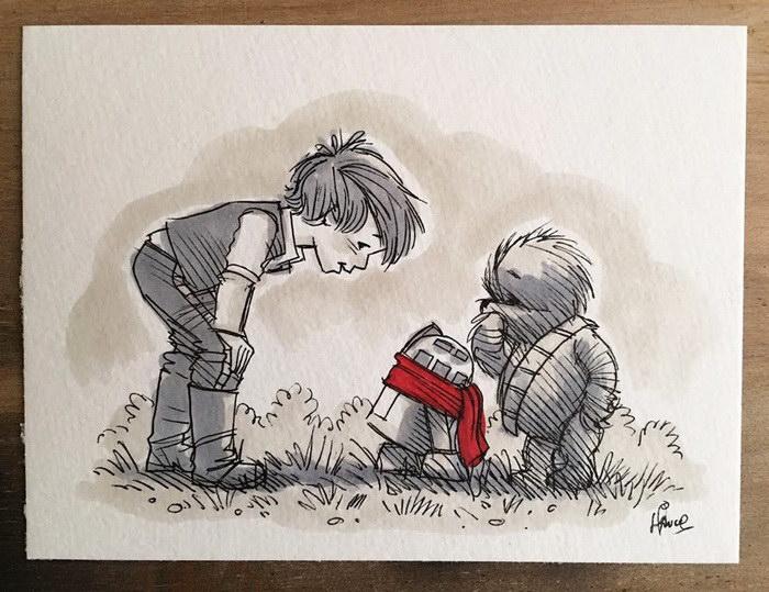Звездные Войны и Винни-Пух: иллюстрации James Hance