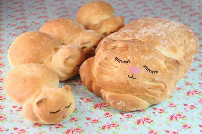 Самый милый хлеб на свете в виде кошки и котят