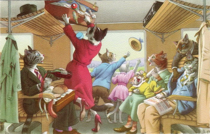 Очеловеченные кошки: иллюстрации Alfred Mainzer