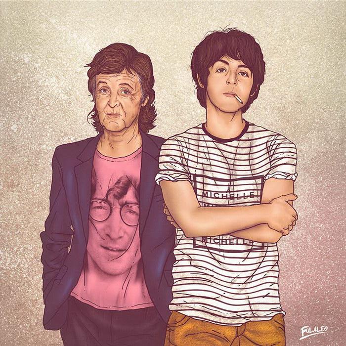 Знаменитости в молодости и в зрелости: иллюстрации Fulvio Obregon