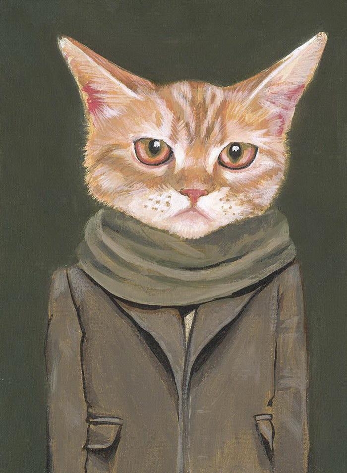 Портреты кошек, переодетых в людей