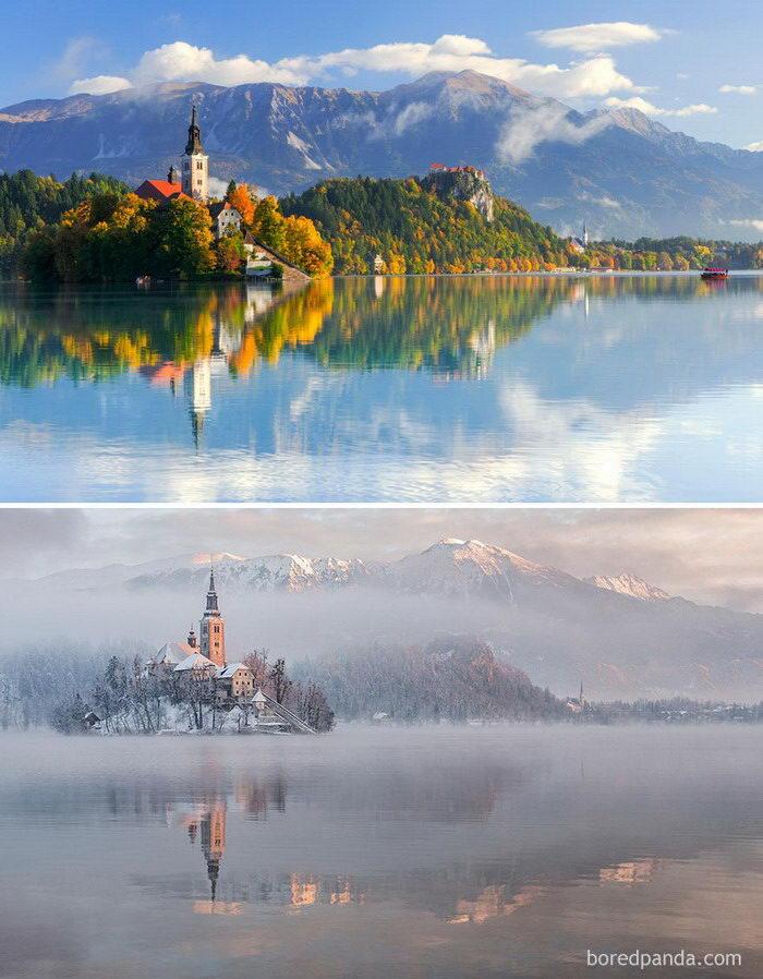 Зимние трансформации: как выглядят разные места зимой и летом