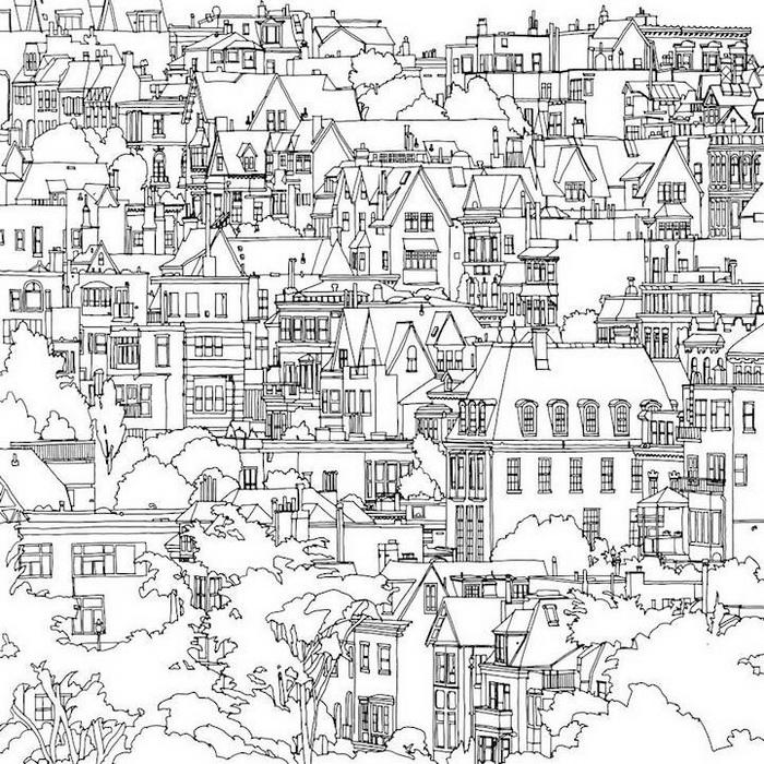 Раскраски город люди