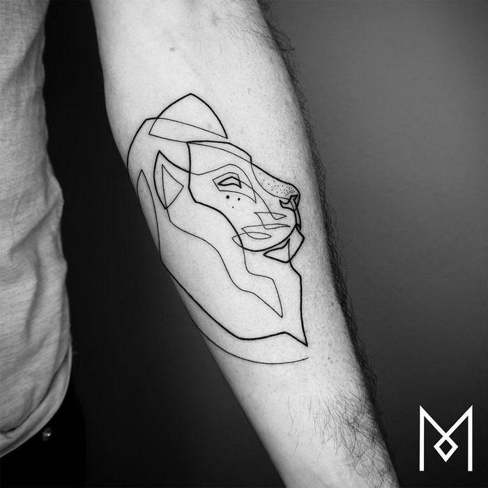 Татуировки в одну линию: работы Mo Ganji