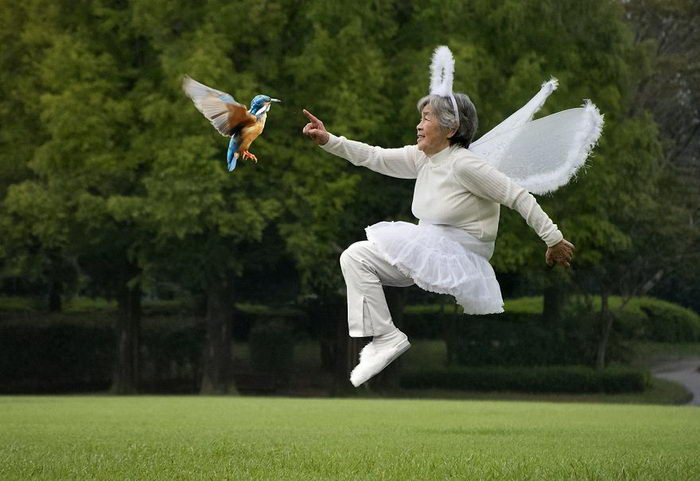 90-летняя бабушка Kimiko Nishimoto и ее автопортреты