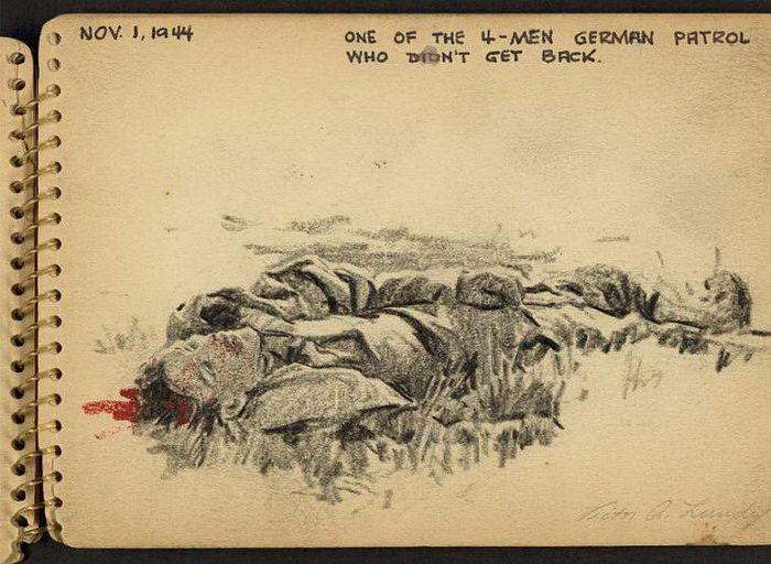 Зарисовки американского солдата Victor A. Lundy о Второй мировой войне