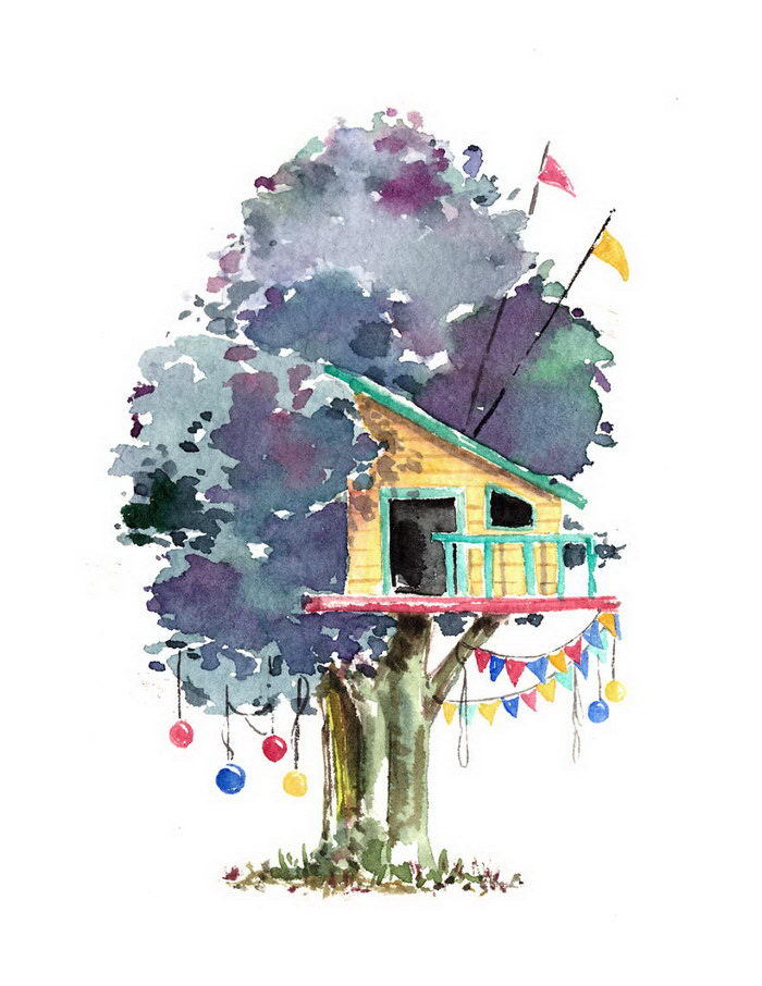 Акварельные домики на деревьях Meream