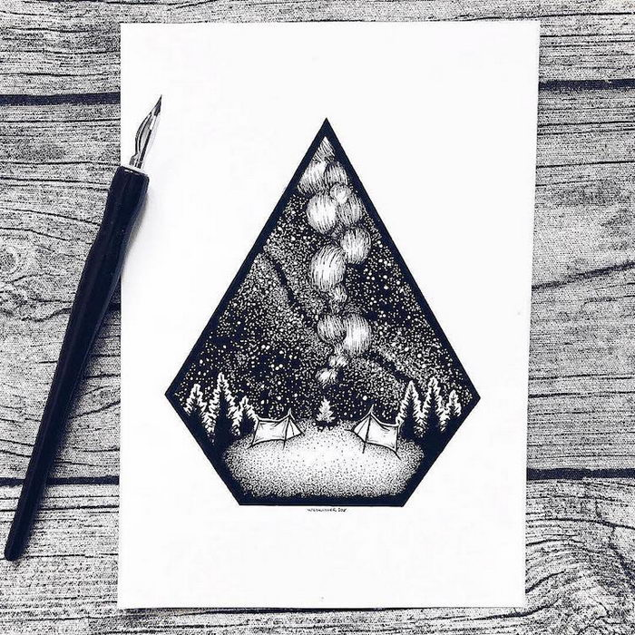 Рисунки черной ручкой Josefine Svard