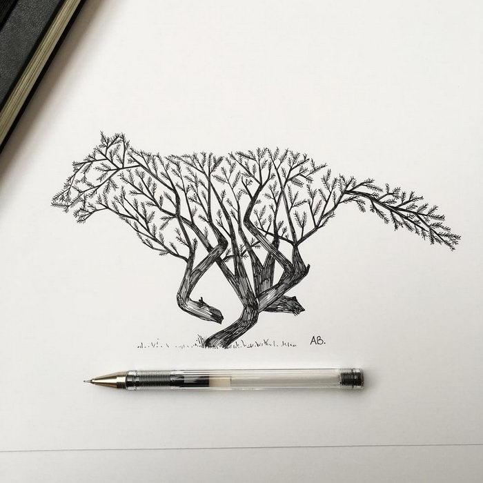 Рисунки ручкой Alfred Basha