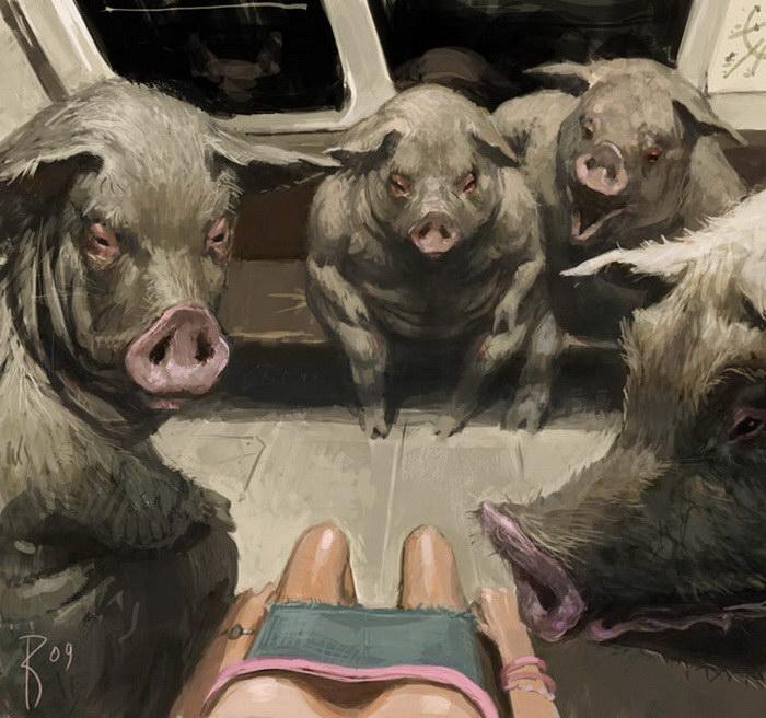 Ироничные картины Waldemar von Kazak