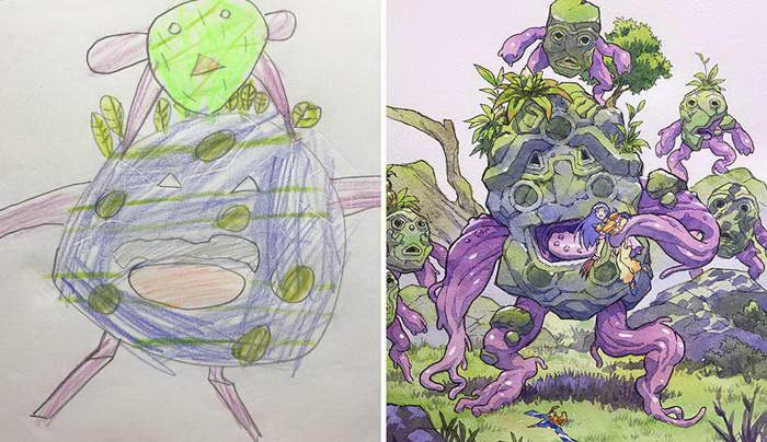 Невероятное превращение рисунков сына в шедевры: работы Thomas Romain