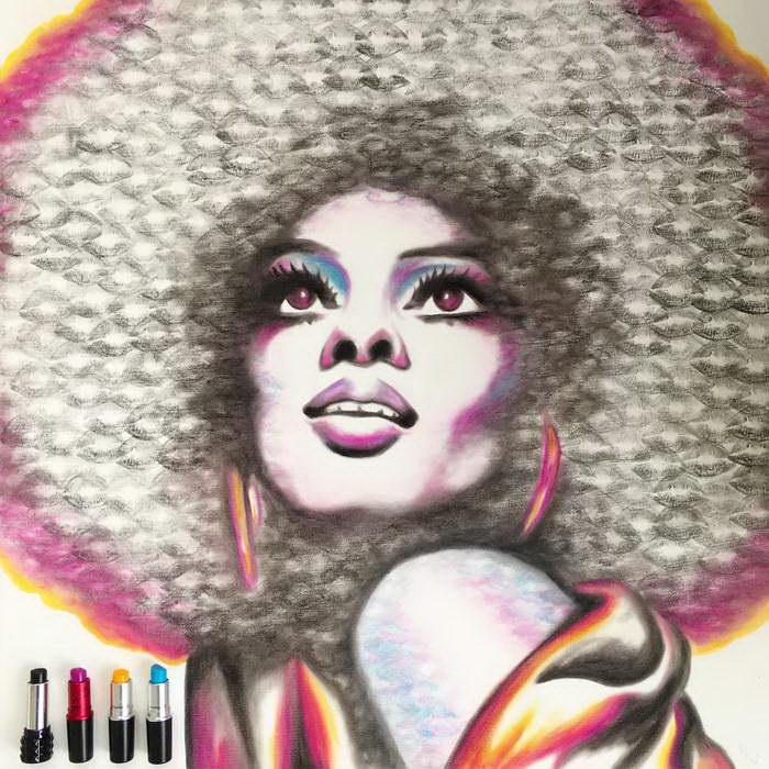 Картины помадой Lipstick Lex
