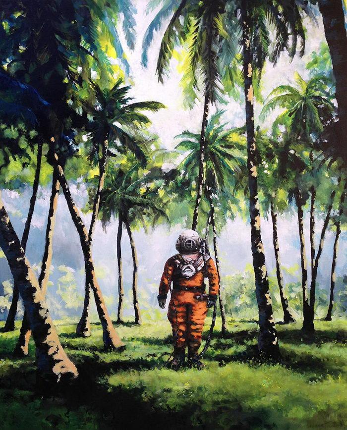 Космонавты и летающие фрукты: картины Thomas Krahn