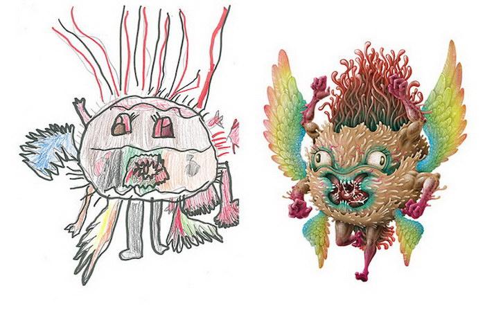 Превращения детских рисунков в профессиональные иллюстрации