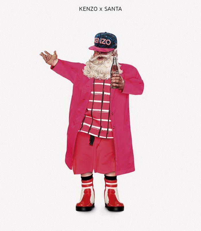 Санта Клаус в модных марках одежды