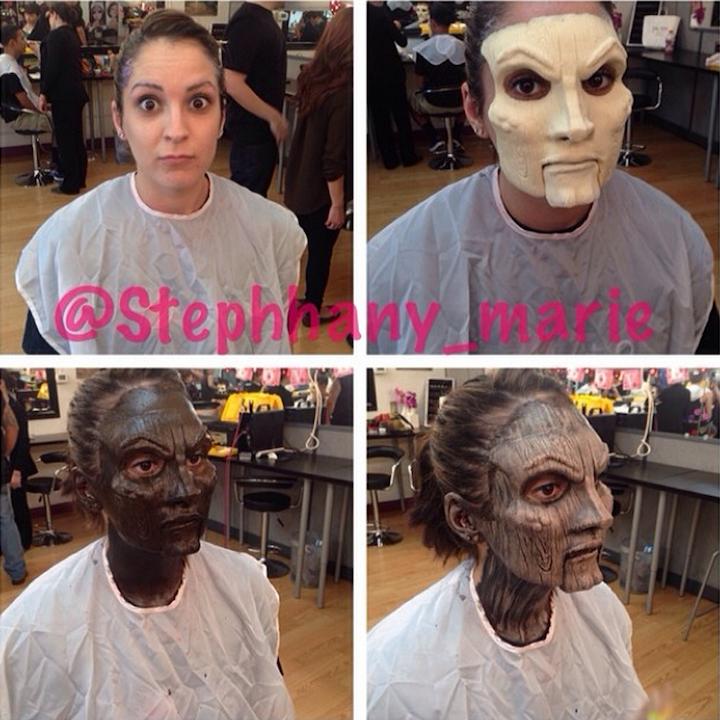 Страшная маска с помощью макияжа