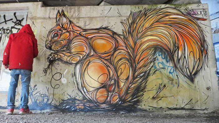 Объемные граффити животных Dzia