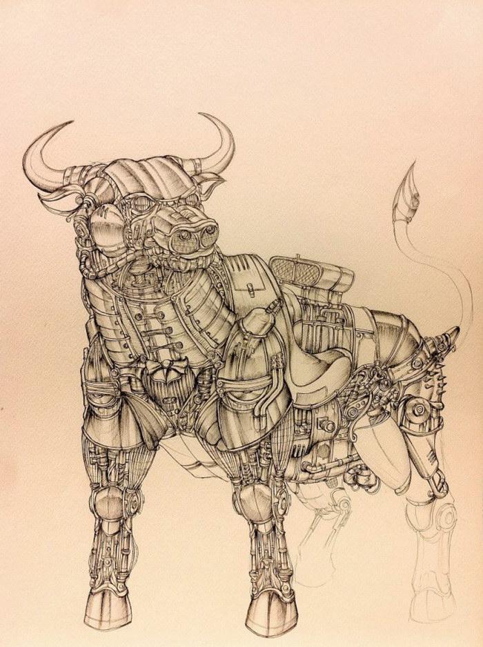 Стимпанк-иллюстрации животных Marco