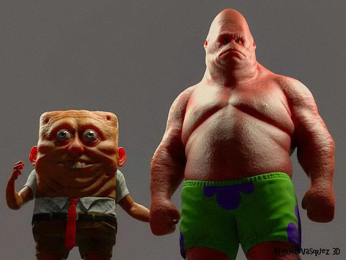 Слишком реалистичные Спанч Боб и Патрик: работа Miguel Vasquez