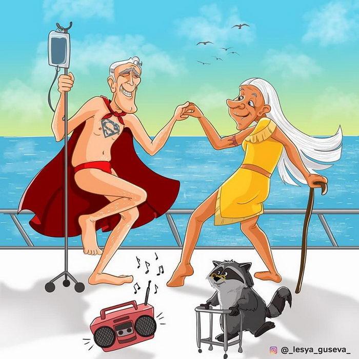 Постаревшие персонажи любимых мультфильмов: работы Леси Гусевой