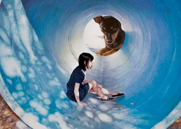 Девушка и собака: картины Woo Jeong Jae
