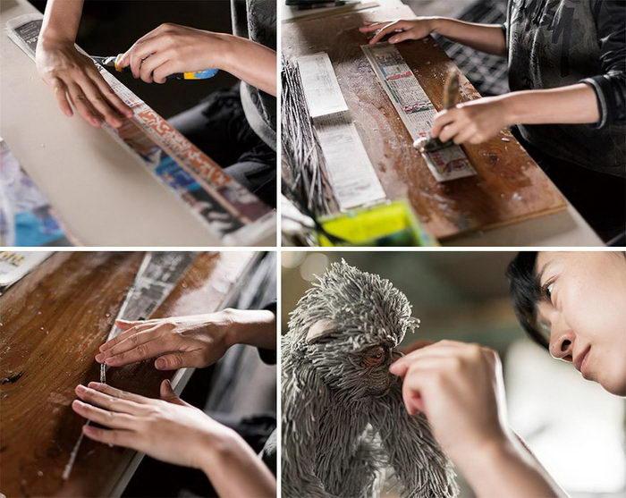 Газеты как материал для скульптур: работы Chie Hitotsuyama