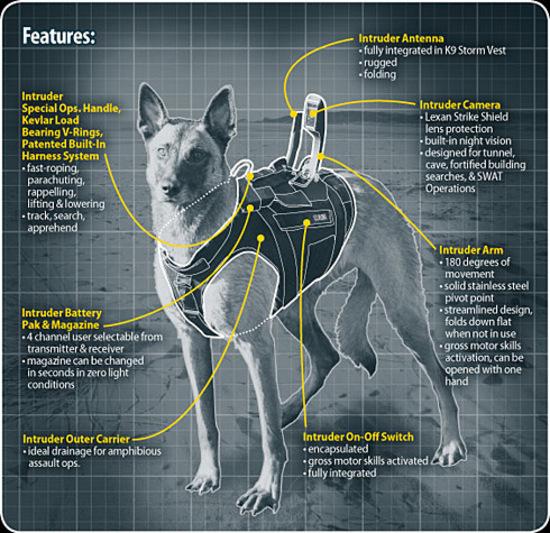 Высокотехнологичные собачьи жилеты армии США