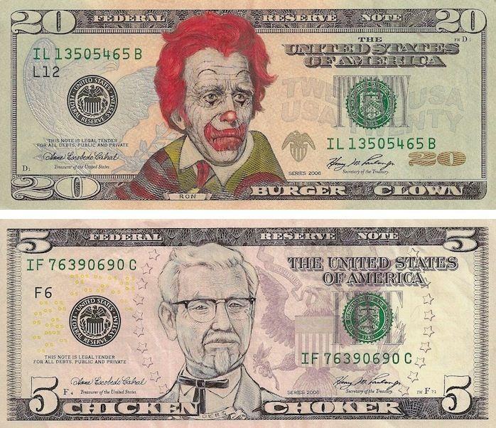 Рисунки на долларах Джеймса Чарльза