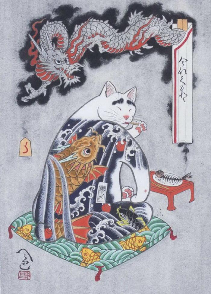 Татуировки и кошки: арт Kazuaki Horitomo