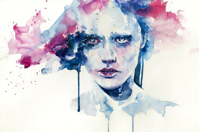 Abstract watercolor faces
