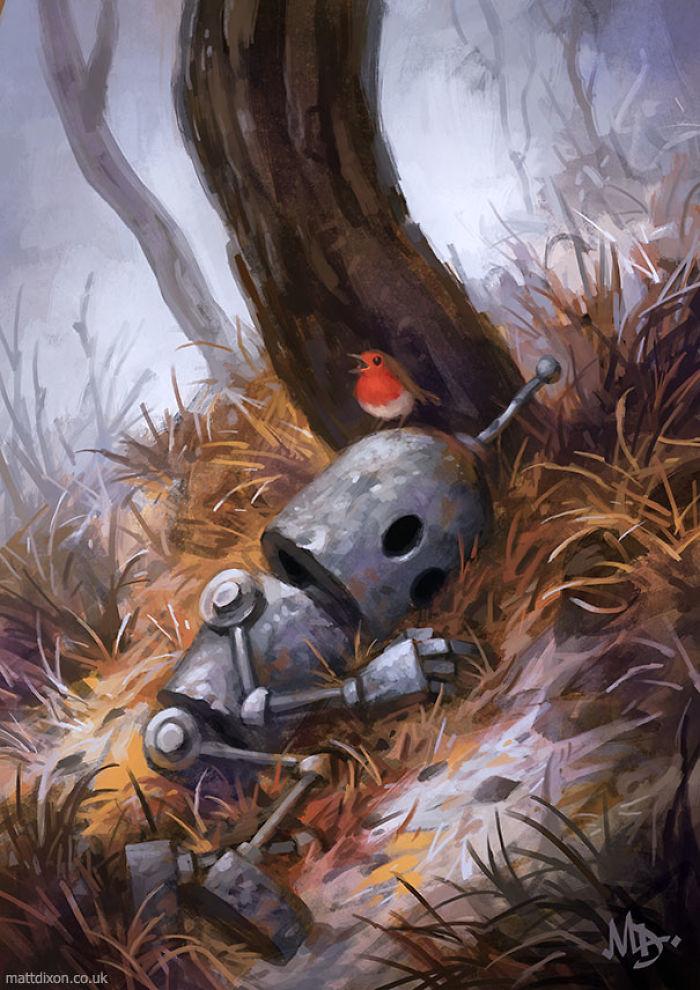 Жизнь одиноких роботов в иллюстрациях Matt Dixon
