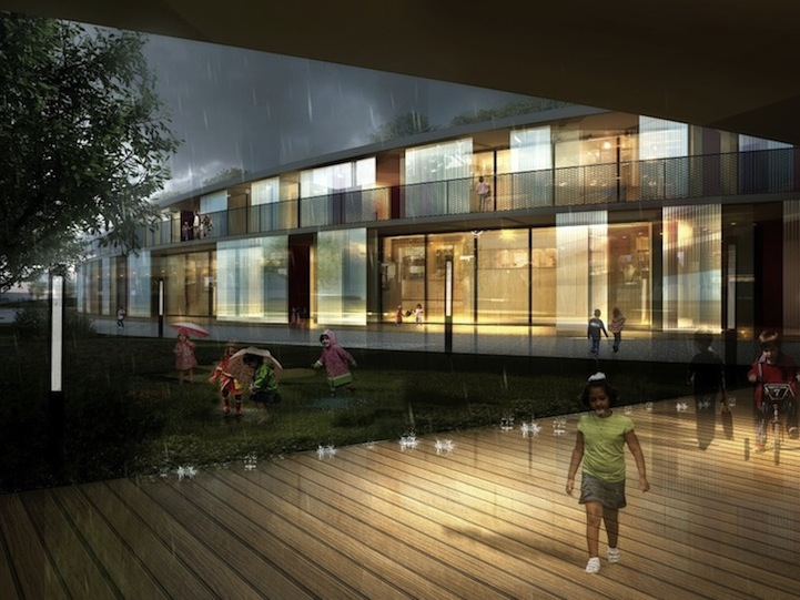 Школа с зеленой крышей
