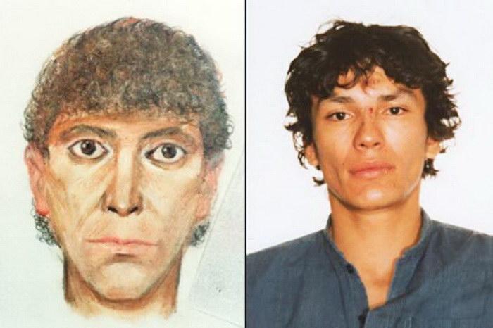 Полицейские скетчи и реальные фотографии преступников