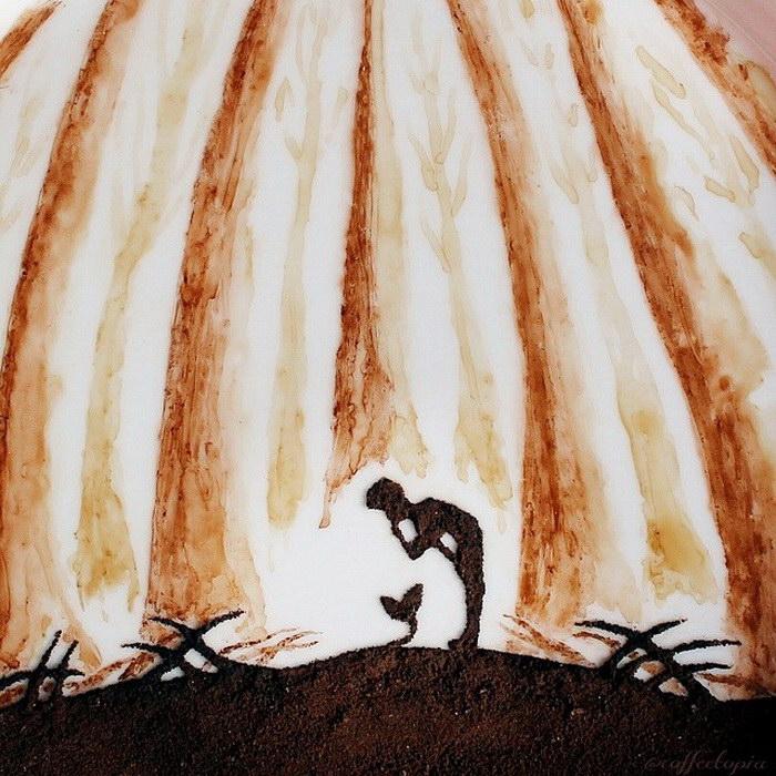 Кофейные рисунки на листиках Ghidaq al-Nizar