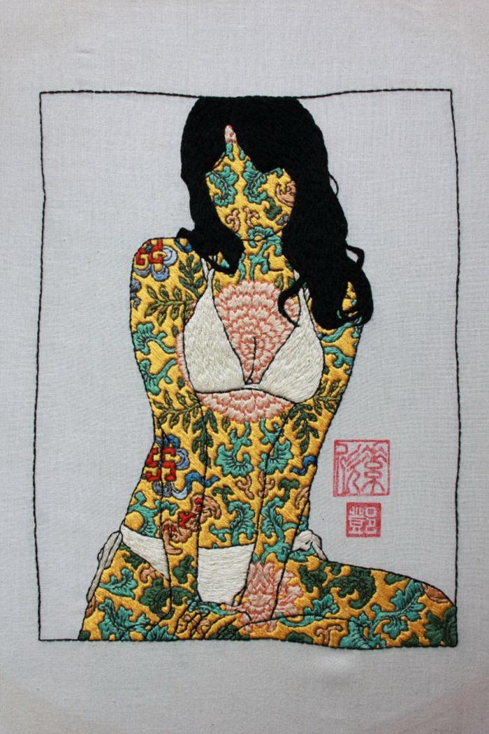 Вышитые изображения женщин Jessica Tang