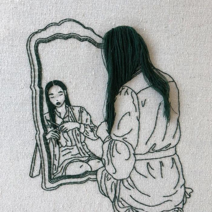 Автопортреты с помощью нитки: работы Sheena Liam
