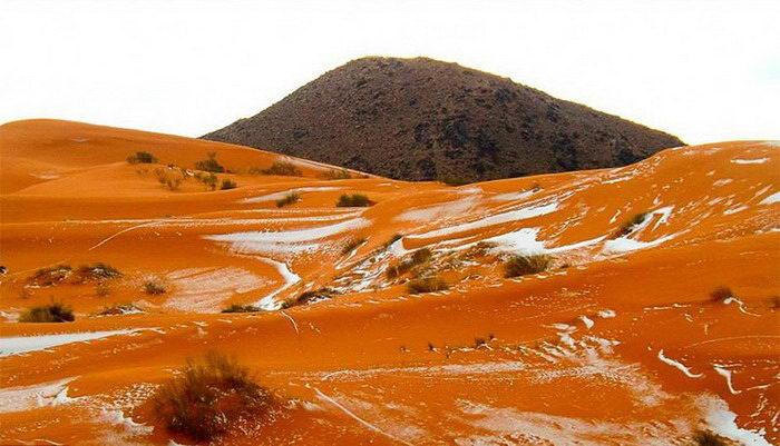 Первый снег в пустыне Сахара за 37 лет