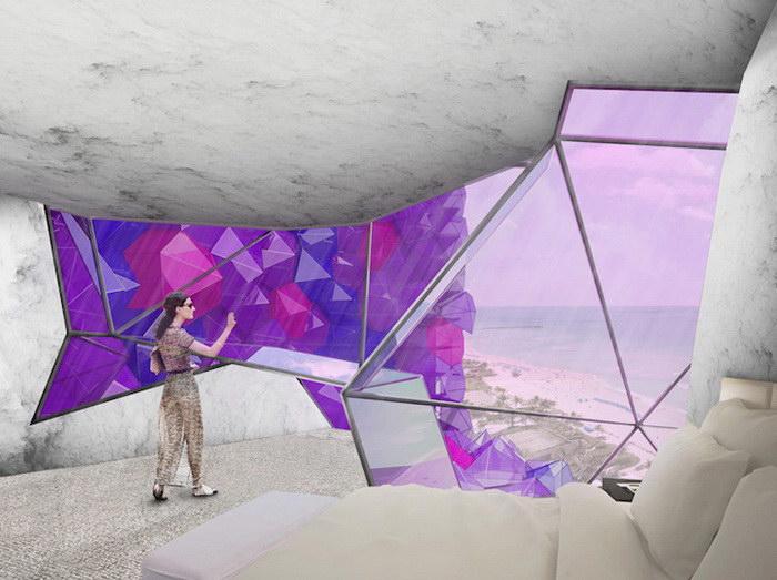 Проект отеля в форме аметиста
