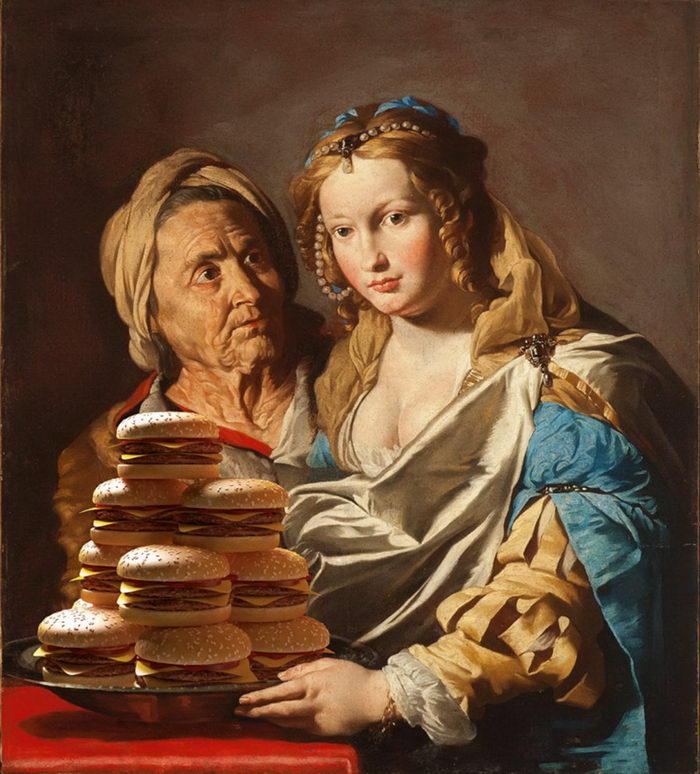 Фаст-фуд на картинах эпохи Возрождения: работы Gabriel Nardelli Araujo