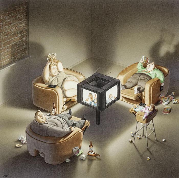 Проблемы современного общества в ироничных иллюстрациях Gerhard Haderer