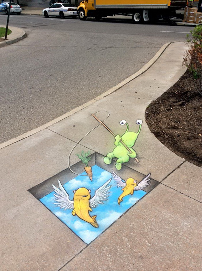 Уличные рисунки David Zinn