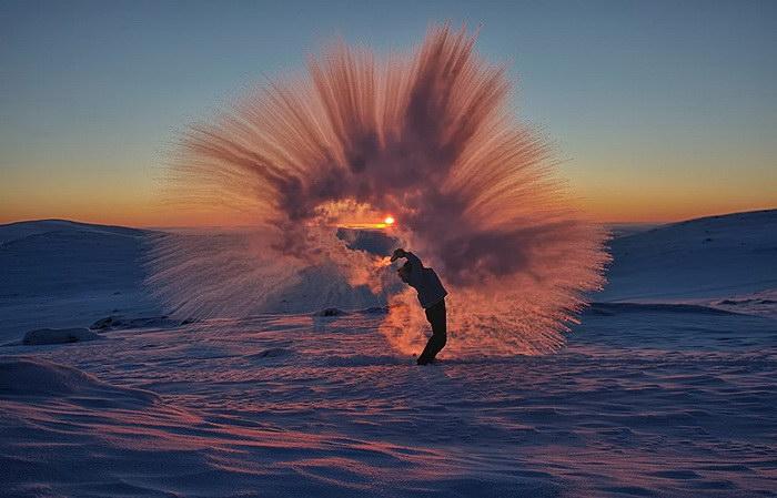 Горячий чай при температуре -40°C: необычное фото