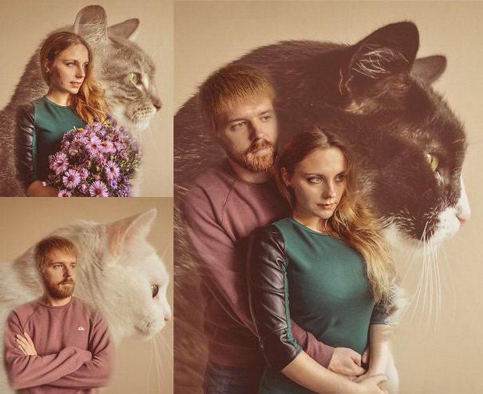 Винтажные фотографии мужчин, позирующих с котами