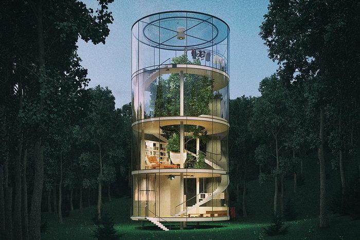 Стеклянный дом в лесу Aibek Almassov