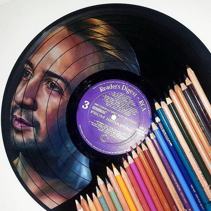 Портреты звезд на виниловых пластинках Melissa Jane