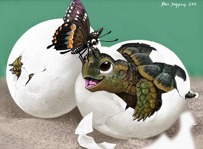 Необычные друзья: анималистичные картины Blair Sampson